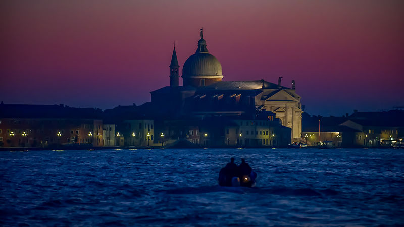 Redentore Church at Dusk with Small Motor Boat in the Foreground