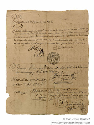 Pilgrim Credential from 1785