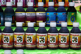 Bottles of coca leaf and maca extract based cough medicine on stall at trade fair promoting alternative coca products , La Pa...