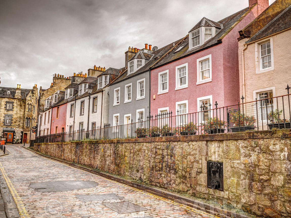 Multicolored buildings in South Queensferry, Scotland