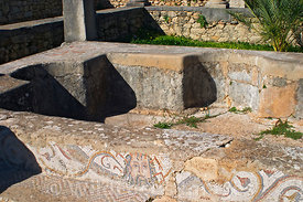 Nymph Pool and associated mosaics, Volubilis, Morocco; Landscape