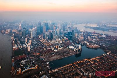 Aerial view of Canary Wharf, London, United Kingdom