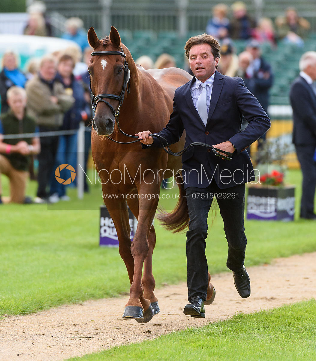 Dan Jocelyn and DASSETT COOL TOUCH at the trot up, Land Rover Burghley Horse Trials 2018