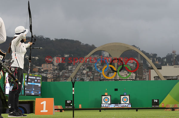 Brazil, Rio, August 7. Archery - Sambódromo..CHANG Hyejin, CHOI Misun, and KI Bobae wins the Gold Medal for Republic of Korea...