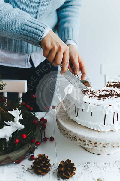 Girl slicing a CHristmas cake
