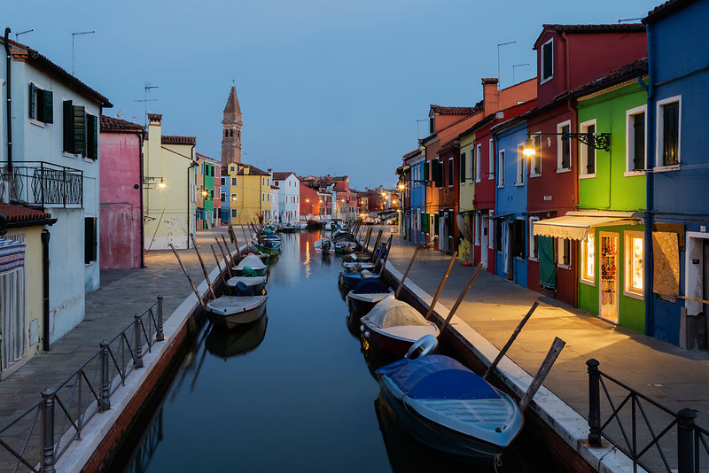 Burano Streets and Canal at Dusk