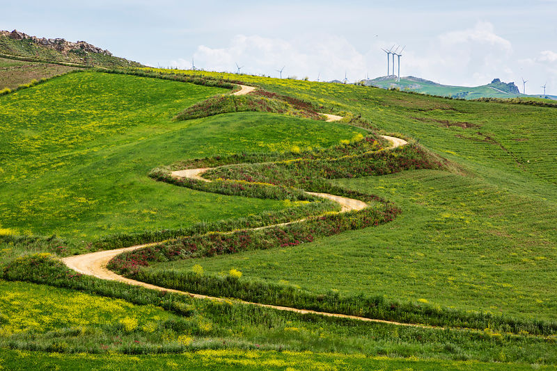 Winding Road and Wind Farm