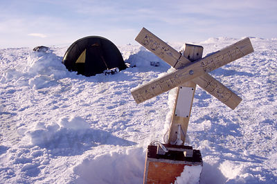 Tent on Finland´s highest place, 1324 metres (wrong numbers in the cross)