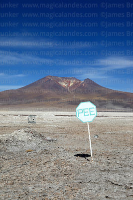 PEE Emergency Meeting Point sign on edge of Salar de Ascotan and Ascotan volcano, Region II, Chile