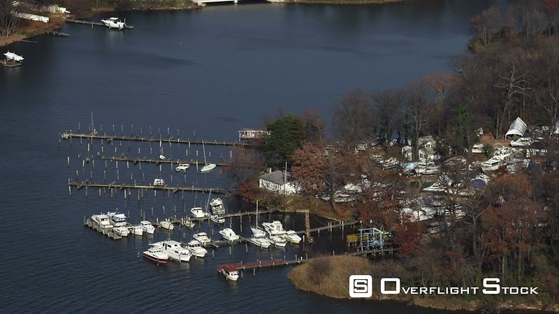 Orbiting small marina and park along the river east of Baltimore, Maryland. Shot in November