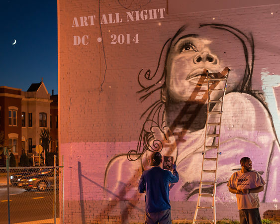 mural art photography from at Art All Night (Nuit Blanche) DC 2014 (artist: Michael Hammond, www.michaelhammondart.com)