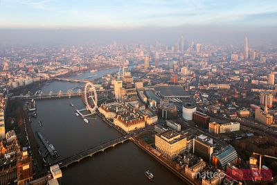 Aerial view of the London Eye on the river Thames at sunset