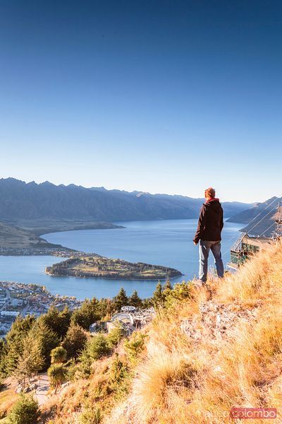 Hiker looking at Queenstown from lookout at sunrise, New Zealand
