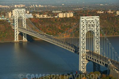 Aerial photograph of the George Washington Bridge spanning the Hudson River