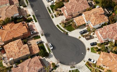 Aerial USA California suburbs