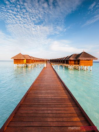Wooden pier in a tropical island, Maldives