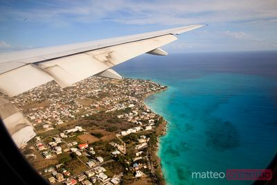 Aerial of Barbados west coast, Caribbean