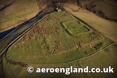 aerial photograph of Castleshaw Roman Fort near  Oldham Greater Manchester England UK