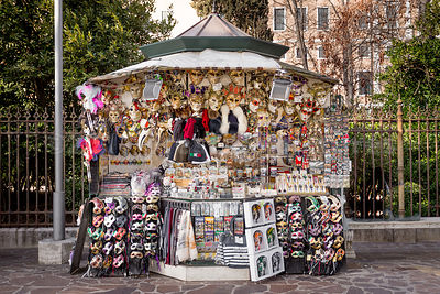 Street Stall in Venice selling Carnival Masks and other Souvenirs