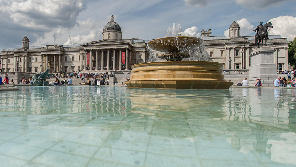 Trafalgar Square with Fountain and National Gallery