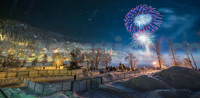 Fireworks on frozen lake of St.Moritz on January 1, 2014