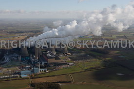 Cottam Power Station aerial photograph of a winters day and steam plumes from Lincolnshire