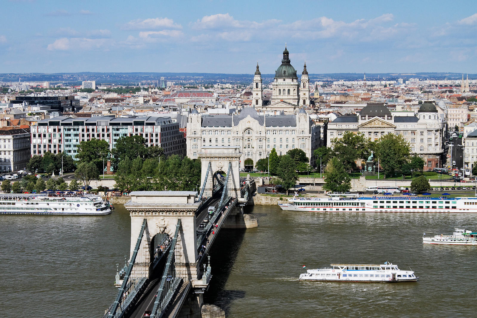Elevated View of the Chain Bridge and the River Danube