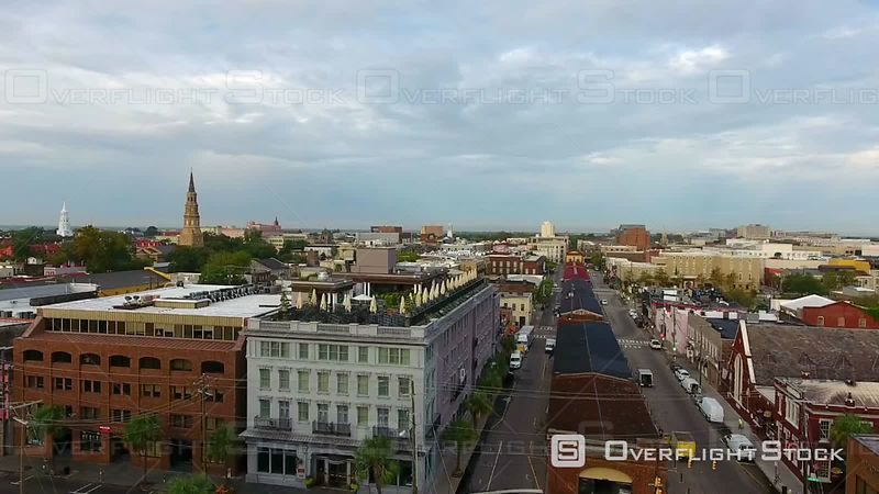 4k Aerial of Charleston South Carolina at Sunrise