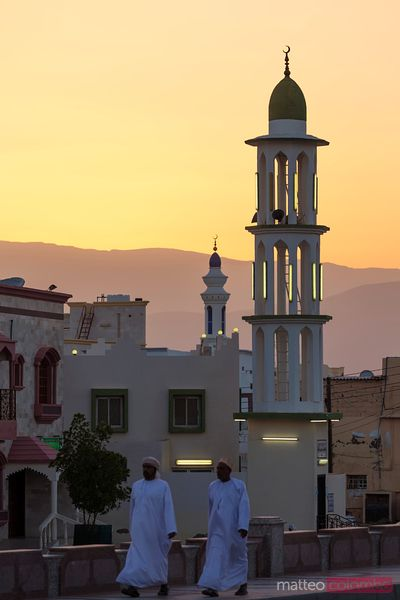 Oman, Sur. Sunset over minarets