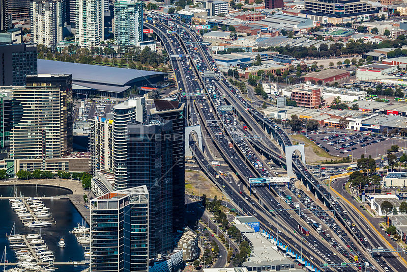 Westgatre Freeway during peak traffic times. Melbourne Australia