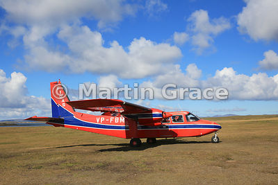 FIGAS (Falkland Islands Government Air Service) Britten-Norman Islander Aircraft VP-FBM on the ground at Saunders Island airs...
