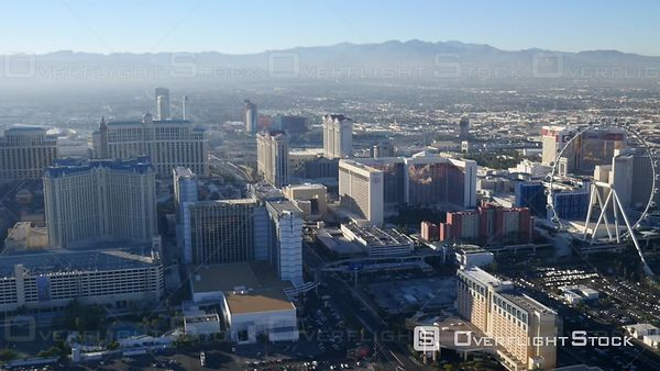 Las Vegas, Nevada, USA  Daytime Aerial Footage of Las Vegas Strip