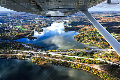 Cessna 172 flying over Cootes Paradise in Hamilton, Ontario duri