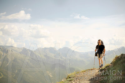 Backpacker and mountain landscape