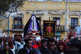 Devotees parade with statue of Virgen de los Dolores / Virgin of Sorrows during Good Friday procession, Plaza Murillo, La Paz...