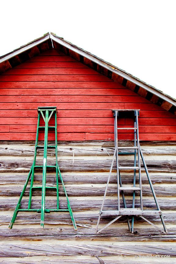 OLD HOUSE WITH FRUIT PICKING LADDERS DOOR COUNTY WISCONSIN COLOR