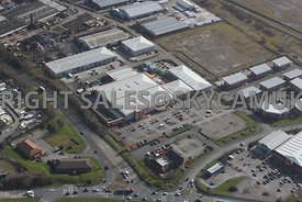 Widnes aerial photograph looking across Earle road towards B & Q and Widnes Trading Estate Dennis Road