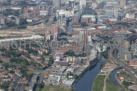 River Irwell and Ordsall Lane looking towards the construction and development areas surrounding the Regent road crossing poi...