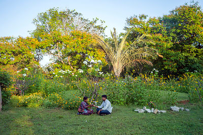 India - Pondicherry - A couple in the Botanical Gardens,
