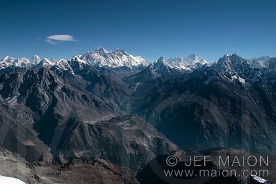 Vue d´ensemble de l´Everest et du Khumbu Himal