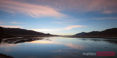 Panoramic sunset over Yarlung Tsangpo river, Tibet, China
