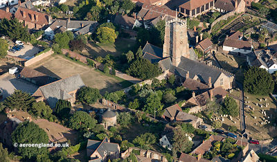 Dunster  Tithe Barn Dovecote and Church aerial photograph