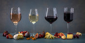 Wine glasses in a row with fruits