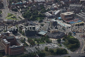 Leeds aerial photograph of Quarry Hill and the West Yorkshire Playhouse Theatre Playhouse Square the Arts Quarter