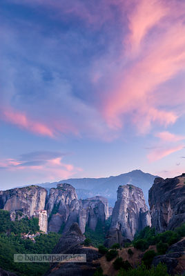 Sunset over The Holy monastery of Rousanou, Meteora, Greece