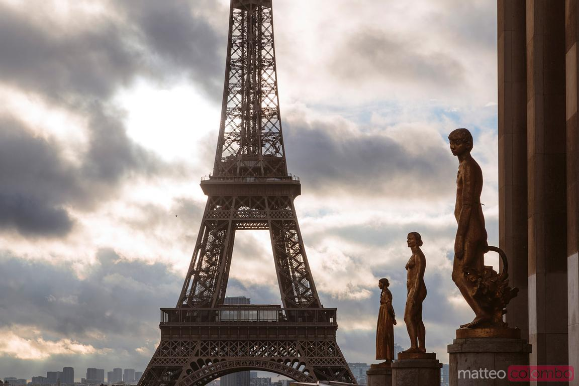 Sunrise over Eiffel tower, Trocadero, Paris, France
