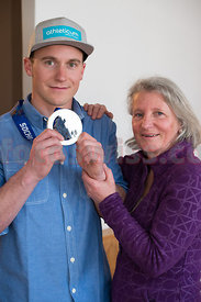 Nevin Galmarini with mother Helen at home in Ardez