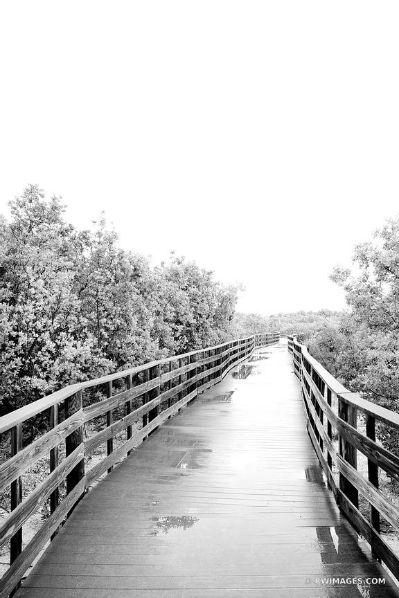 BOARDWALK AFTER THE RAIN ANNE'S BEACH ISLAMORADA LOWER MATECUMBE KEY FLORIDA KEYS BLACK AND WHITE