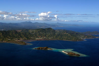 Aerial view of Hoazil island and Grande Terre, aerial view, Mayotte, July 2004.