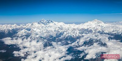 Aerial view of Himalaya range with mount Everest visible, Nepal